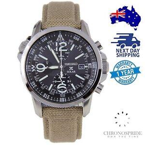 SEIKO-PROSPEX-Solar-SSC293-SSC293P-Beige-Nylon-Military-Chronograph-Mens-Watch