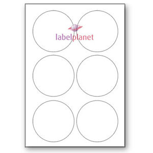 6 Per Page 85mm Blank White A4 Circular Round Sticky Labels Label Planet®