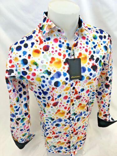 Mens PREMIERE Long Sleeve BUTTON DOWN Dress Shirt SPLASH PAINT COLORFUL 311 NWT