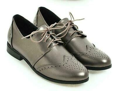 Details about  /Brogue Wing Tip Womens Pu Leather Pointed Toe Lace Up Carved Flats Shoes British