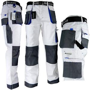 Arbeitshose-Malerhose-Bundhose-Arbeitskleidung-11-Taschen-LH-Weiss-Blau-Gr-46-62