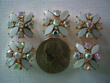 2 Hole Slider Beads X-Flower White/AB Crys in Gold Made w/Swarovski Elements #5