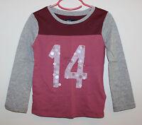 Gap Kids Color Block Shirt Top Burgundy/pink Gray Sz: Xs 4-5 Sequin