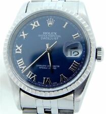 Rolex Datejust Mens 2000's Stainless Steel Watch Jubilee Blue Roman Dial 16220