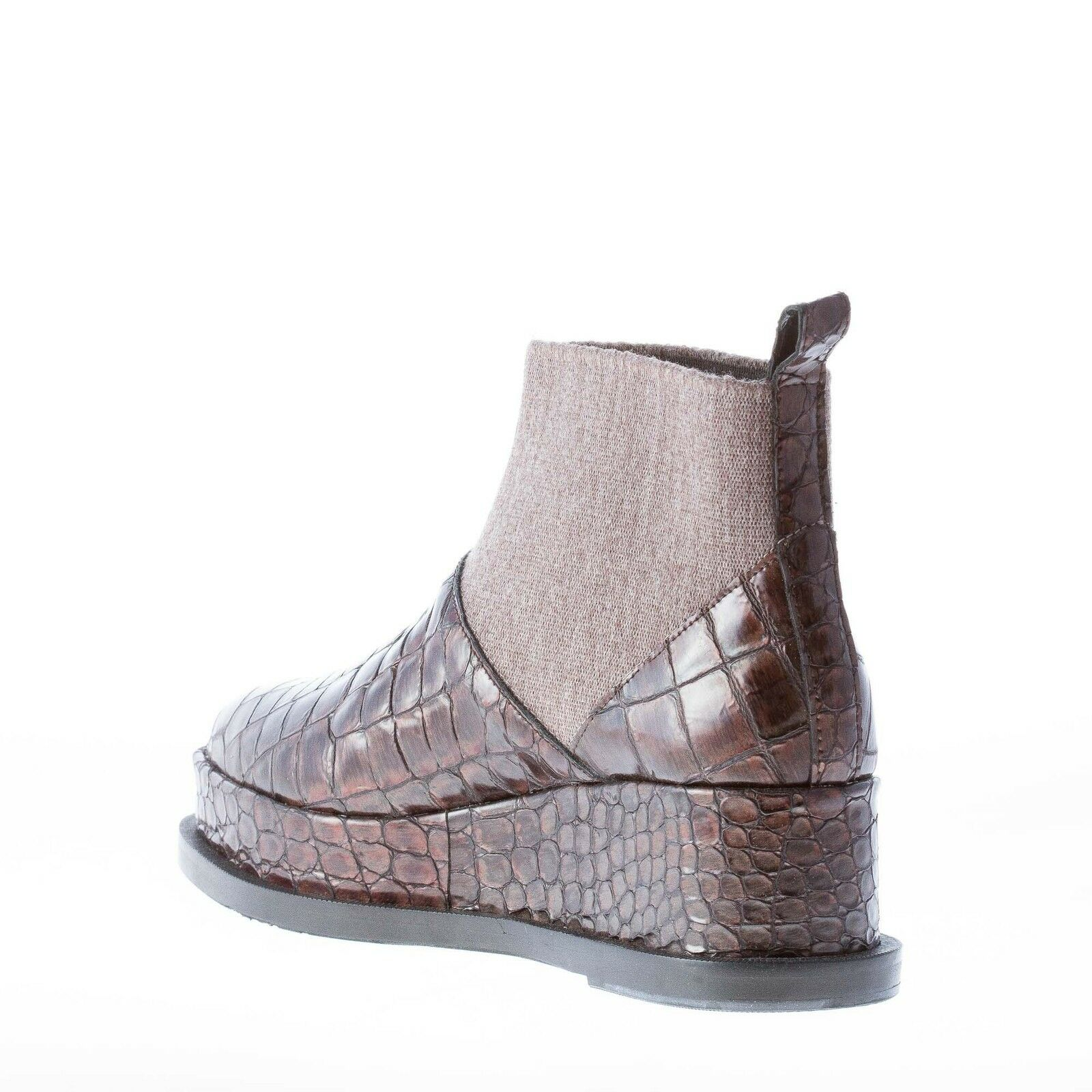 RAS women shoes Brown croco embossed leather leather leather stretch wedge ankle boot 44f3a5
