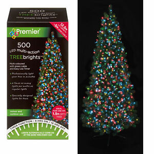 500 LED Christmas TREE Brights Timer Lights Multi Action Premier ...