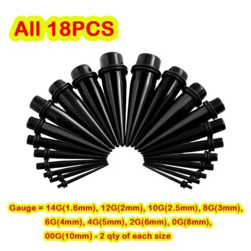 12-54PCS Acrylic Ear Gauge Kit Spiral Tapers Tunnels Plugs Starter Set 14G-20MM