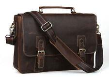 "Mens Bull Cowhide Leather Tote Briefcase Laptop 15"" Bag Messenger Shoulder Cases"