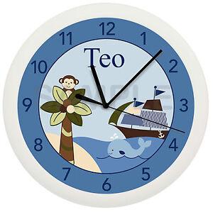 Image Is Loading Nautical Sailboat Wall Clock Nursery Monkey Blue Gift