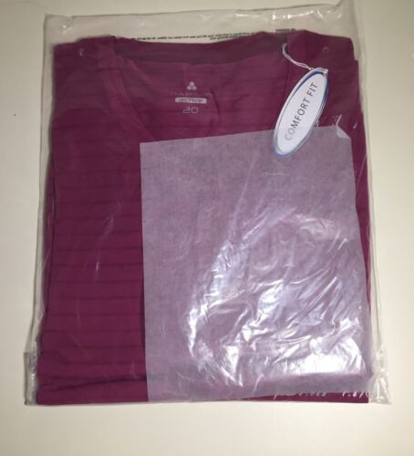 Womens Top Papaya Active Comfort Fit Ladies TShirt Top Size Uk20 Fuchsia New