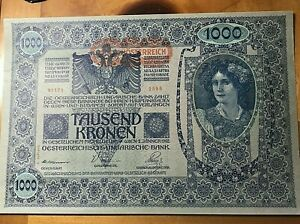 1902-AUSTRIA-1000-KRONEN-NOTE-SCARCE-THIS-NICE