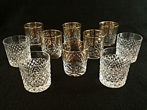 Rare-Antique-BACCARAT-Flawless-Crystal-10-Whiskey-Tumbler-w-Gold-Rocailles