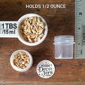 12-Tiny-Small-1-1-4-034-tall-Plastic-JARS-Clear-Caps-Travel-Samples-3304-DecoJars