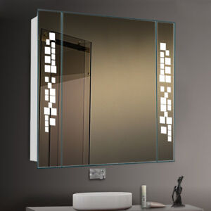 Image Is Loading Large Bathroom Mirror Cabinet With Led Lighted Shaver