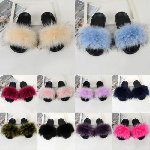 Women/'s Fur Slides Fuzzy Furry Slippers Comfort Sliders Sandals Shoes Sandal