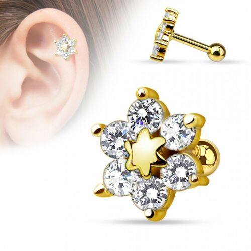 Piercing cartilage fleur plaqué or