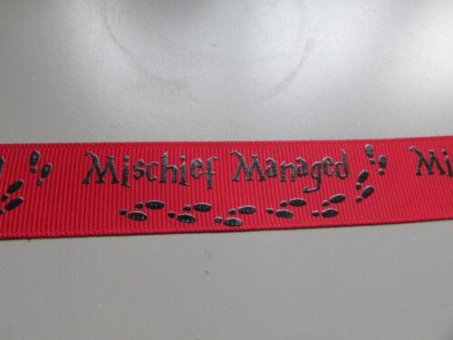 Harry Potter Mischief Managed 2.5cm /& 1.6cm Ripsband X 1 Meter