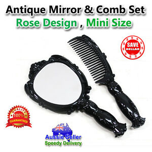 Retro-Vintage-Style-Hand-Held-Mirror-Comb-set-Black-Women-Ladies-Makeup-Cosmetic