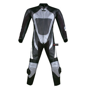 New-1PC-One-Piece-Armor-Leather-Motorcycle-Racing-Suit-Silver-w-Hump-US-Size