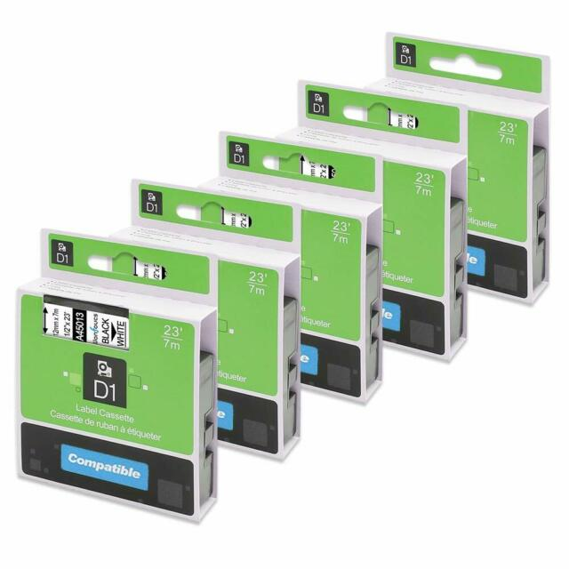 5x Compatible Dymo D1 S0720530 Etiquettes 12mm x 7m Noir sur Blanc Standard