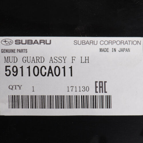 OEM 2013-2018 Subaru BRZ Front Left Fender Liner Splash Shield Guard 59110CA011
