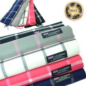 Men Women unisex 100%CASHMERE Scarf tartan stripe Tan Check Plaid Wool SCOTLAND