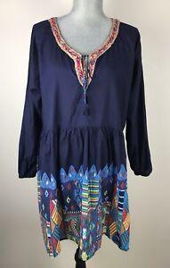 Velzera-SZ-2XL-Plus-Size-Blue-Red-Printed-Top-Blouse-Tunic-Dress-Boho-Tribal