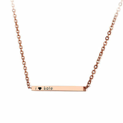 Personalized Stainless Steel Name Bar Necklace Custom Date Necklace Pendant