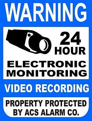 Warning 24 Hour Security Electronic Monitoring Video Recording Metal Sign 9x12