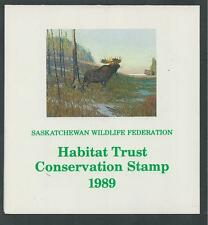 CANADA SASKATCHEWAN, # SAS-2 WILDLIFE CONSERVATION BOOKLET 1989 BULL MOOSE