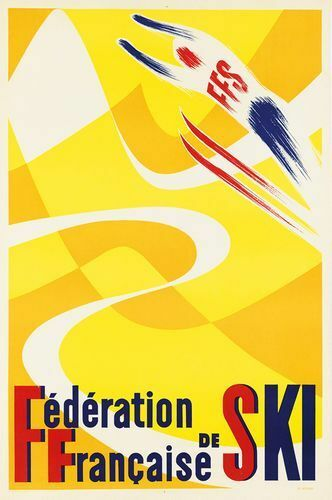 Vintage French Ski Federation Poster Print A3//A4