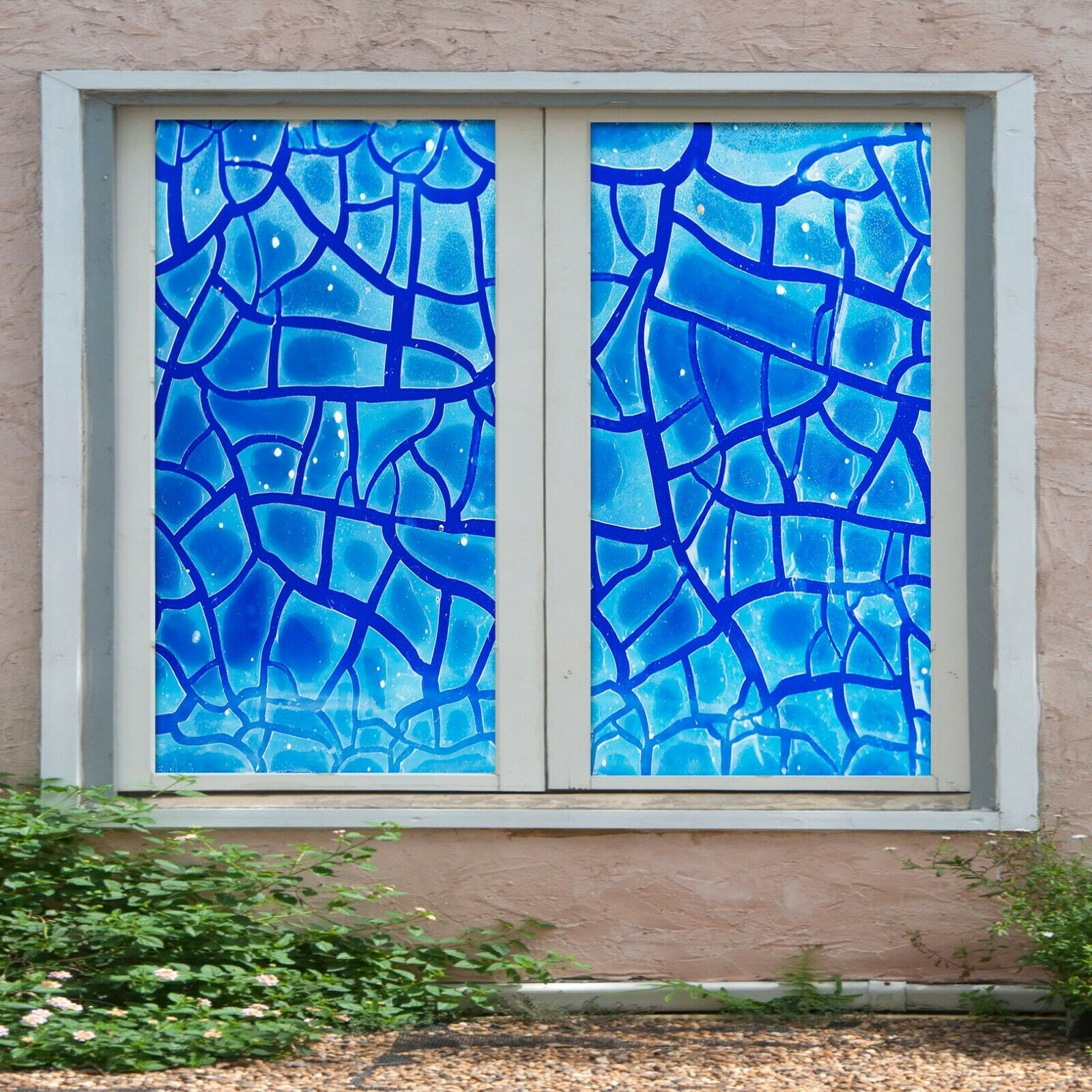 3D Blau Wave Poin I49 Window Film Print Sticker Cling Stained Glass UV Block Ang