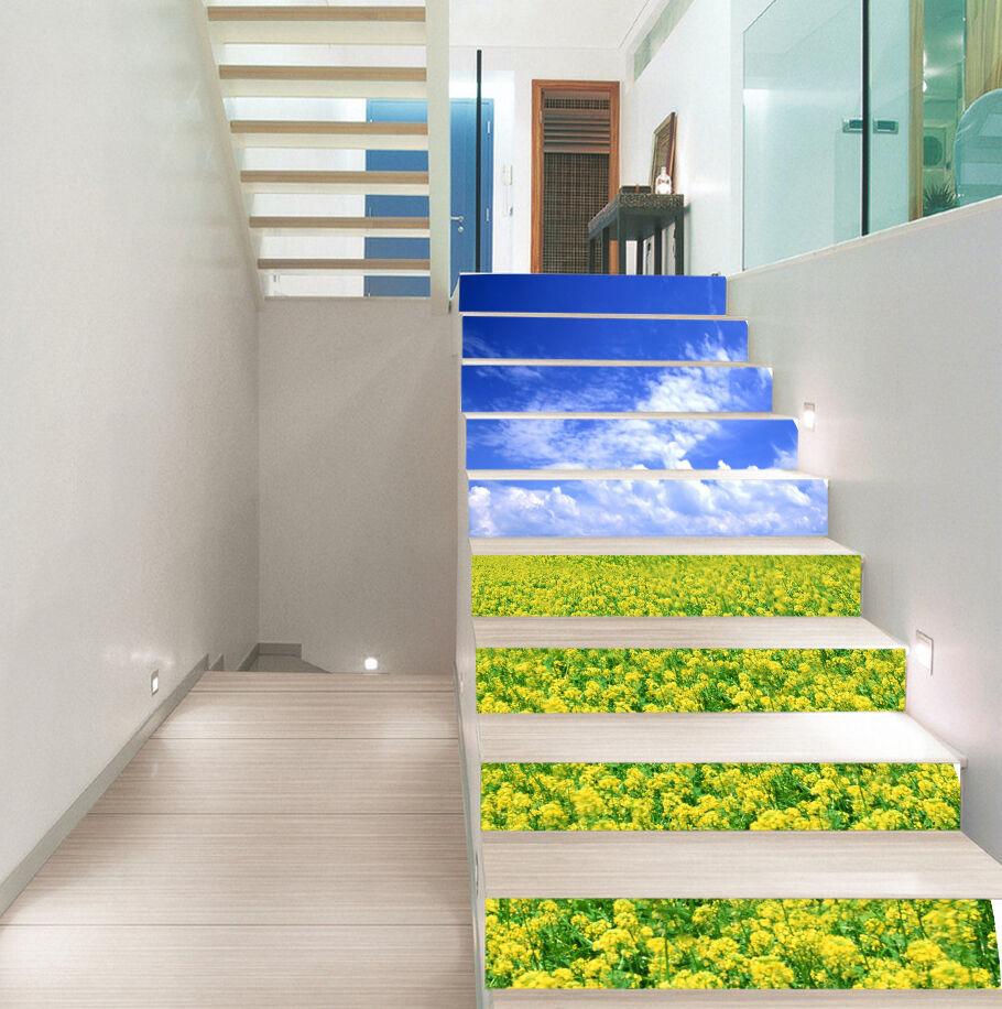 3D Canola Flowers 9 Stair Risers Decoration Photo Mural Vinyl Decal Wallpaper AU
