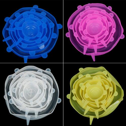6 xSilicone Stretch Préserver Pot bol Couvercle Pour Réfrigérateur Four Contenants De Nourriture Couvre