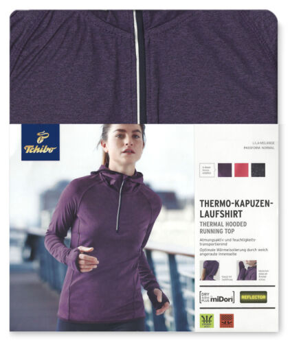 TCM Tchibo Damen Thermo Laufshirt Funktionsshirt mit Kapuze  Langarm Thermoshirt
