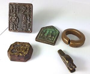 Um 1850-1880 Al596 Asiatika Aus Einer Sammlung 5 Bronze Teile