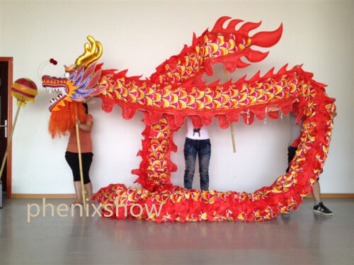 8ab113212 school Party 7m 6 student Chinese red dragon dance costume dragon folk  costume
