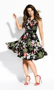 City Chic Abstract Floral Dress - Black Bnwt Plus Size S With Belt