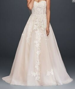Sheer Lace And Tulle Ball Gown Wedding Dress David S Bridal Collection Ebay