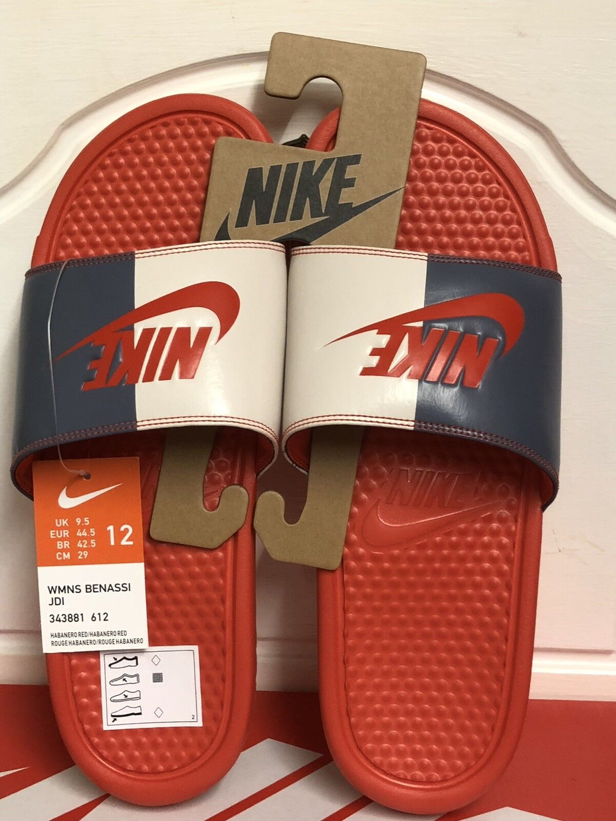 NIKE BENASSI JDI SLIDES SLIP ON FLIP FLOPS UK 9,5 EUR 44,5 US 12