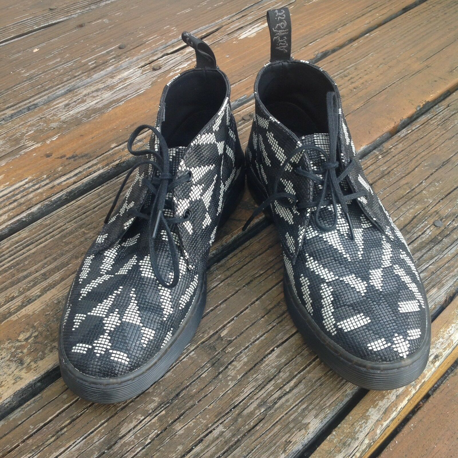 Dr Martens Docs Black Aztec Beaded Hackney Boots Womens 7 Airwair Shoes
