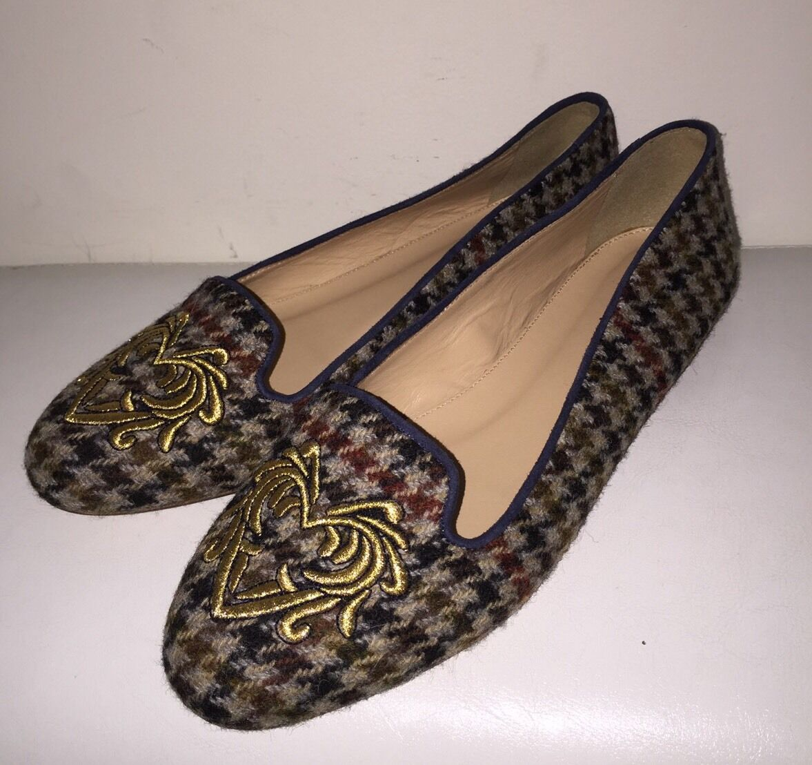 J Crew Crew J Sophie Embroidered Houndstooth Loafers Size 7.5 Style# A9755 New 21a1a2