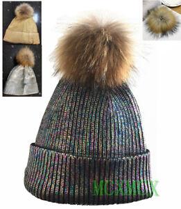 c7452155cba New Winter Gold Sliver Black Metallic Foil Pom Pom Fur Hat Bobble ...