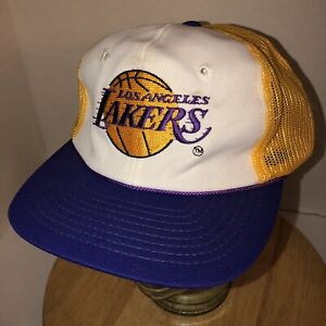 6b7d714774f84 Vintage 80s LOS ANGELES LAKERS Twins Trucker Hat Cap Snapback NBA ...
