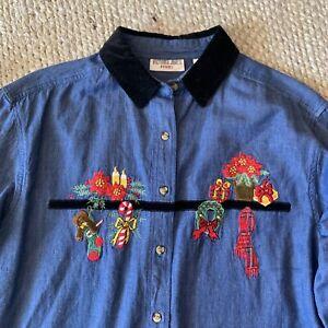 VTG-Ugly-Xmas-Embroidered-Denim-Shirt-Velvet-Trim-Collar-Womens-Large-Petite