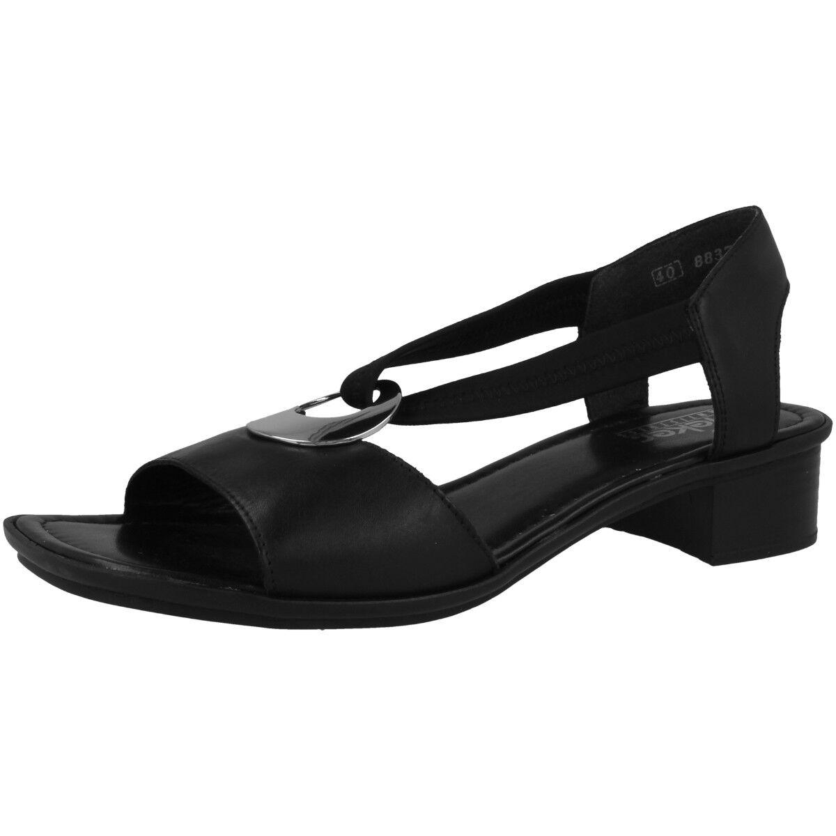 Rieker Aroma-Stretch Schuhe Damen Sandalette Sandalen Pantoletten schwarz 62662-01