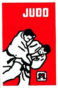Judo - Aufkleber IV  -  rechteckig, roter Hintergrund  - 50 * 75mm  -  NEU