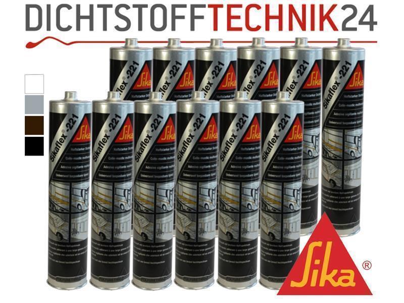 12x Sikaflex -221 Dichtstoff Karosseriedichtmasse Spoilerkleber vers. Farben