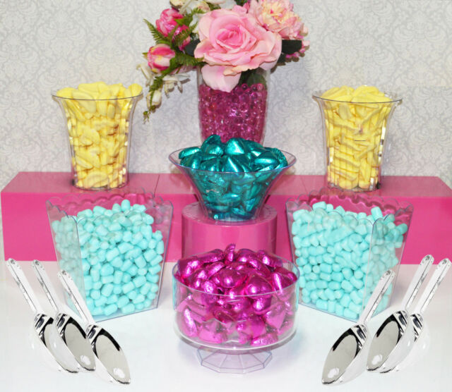 Candy Jars Lolly Jars Plastic x 6 + 6 x Scoops Buffet - Kids Party Dessert Table