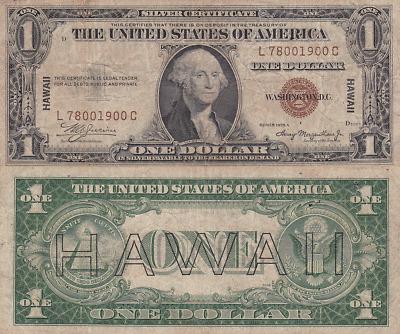 "1935 series A /""HAWAII/"" $1 Silver Certificate Note-WWII World War II"